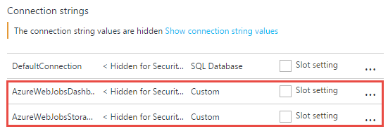 Setting up storage connection strings