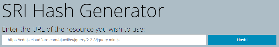 SRI Hash Generator