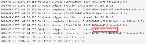 Azure Function execution