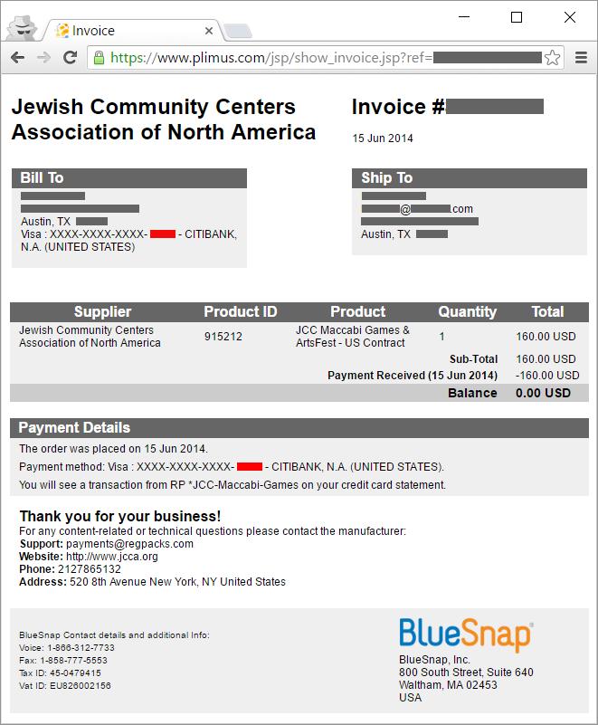 BlueSnap invoice