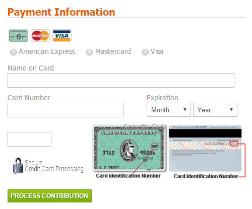 Payment form o the JCC Association website