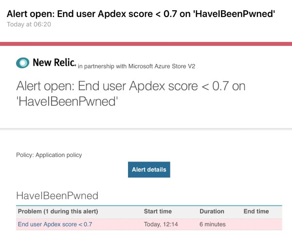 New Relic apdex score alert