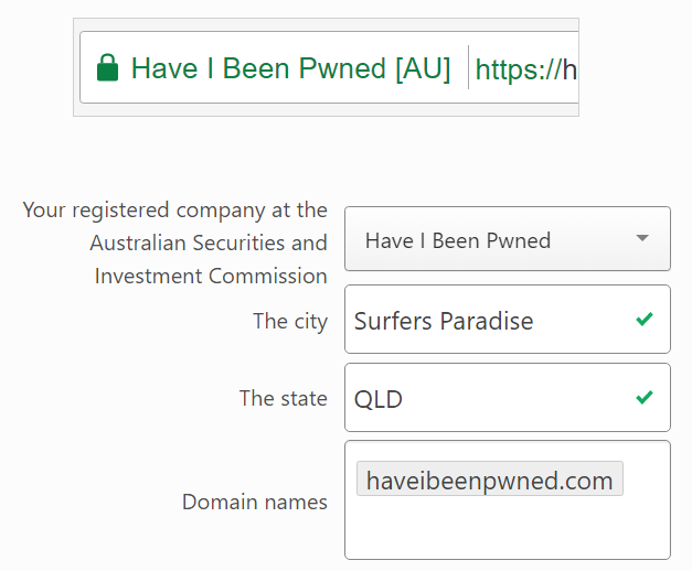 Required info to register the domain