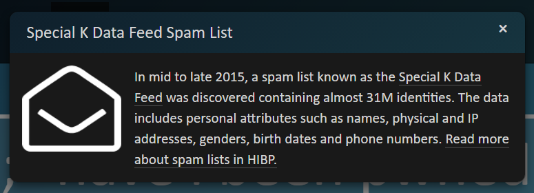 Spam entry details