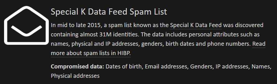 Spam entry in HIBP