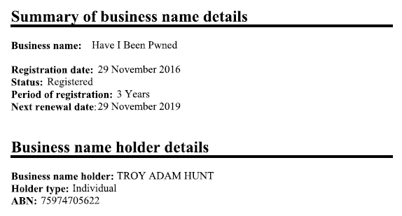 Business name registered under my name