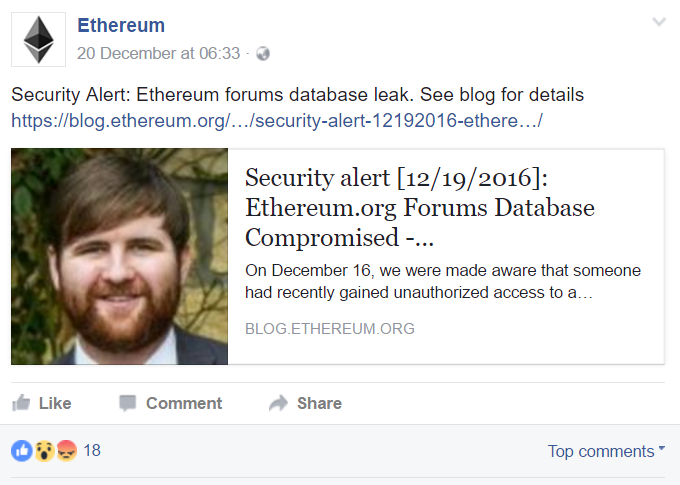 Ethereum Facebook post