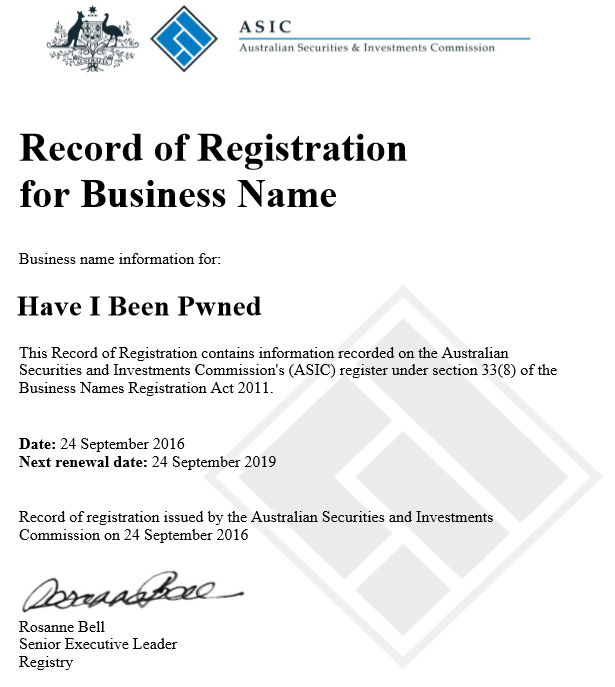 Original ASIC registration