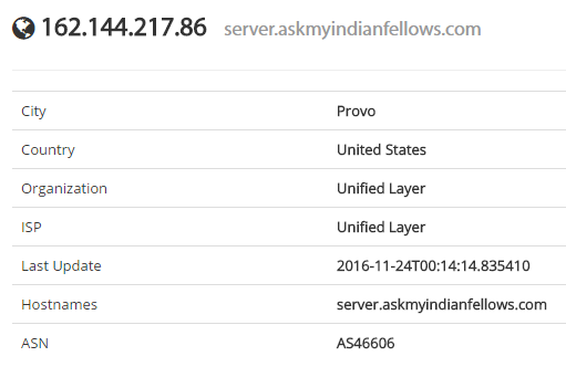 Shodan showing host name