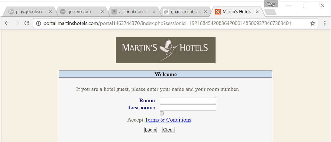 Redirect hotel T&Cs page