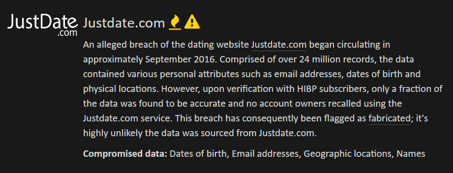 Justdate.com breach description