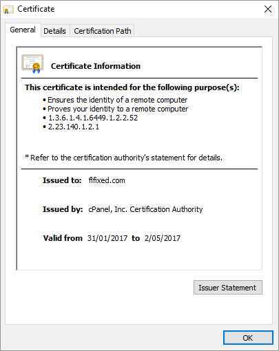 Certificate for flfixed.com