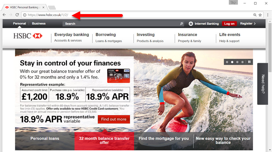HSBC with mixed content