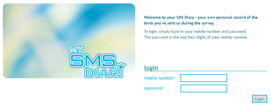 My SMS Diary Logon