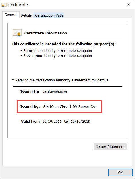 StartCom cert on ASafaWeb
