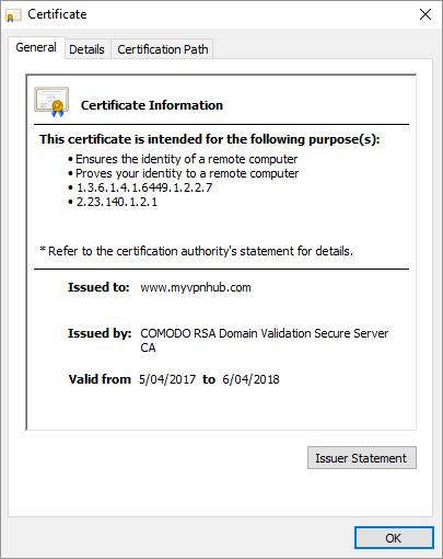 Valid certificate