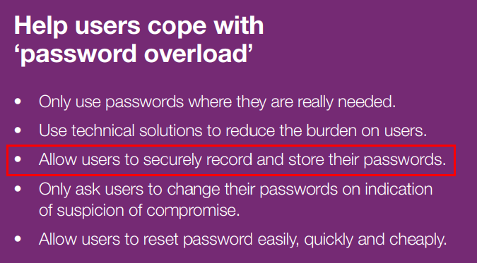 Allow users to securely record and store their passwords