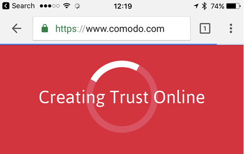 Comodo EV on Chrome in Safari