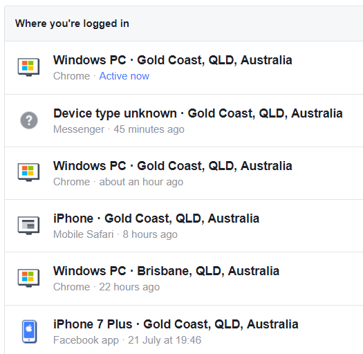 Current devices logged in to Facebook