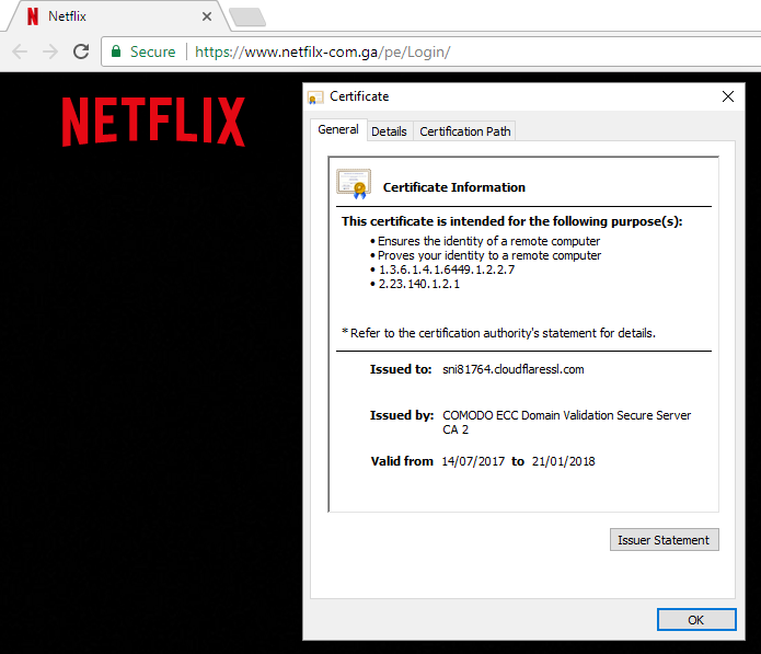 Netflix phishing site  - Netflix Phishing Site Using Comodo Certificate - The Decreasing Usefulness of Positive Visual Security Indicators (and the Importance of Negative Ones)