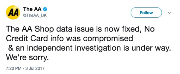 The AA Shop data issue is now fixed, No Credit Card info was compromised & an independent investigation is under way. We're sorry.