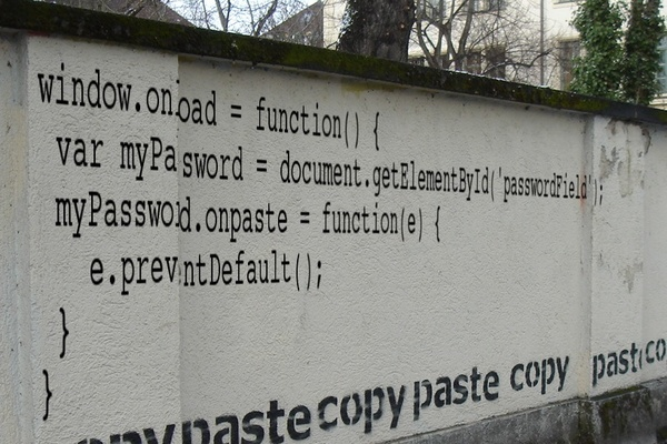 Anti-password-pasting code on a wall