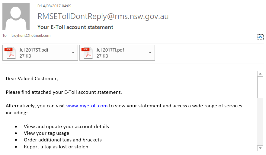RMS E-Toll Email