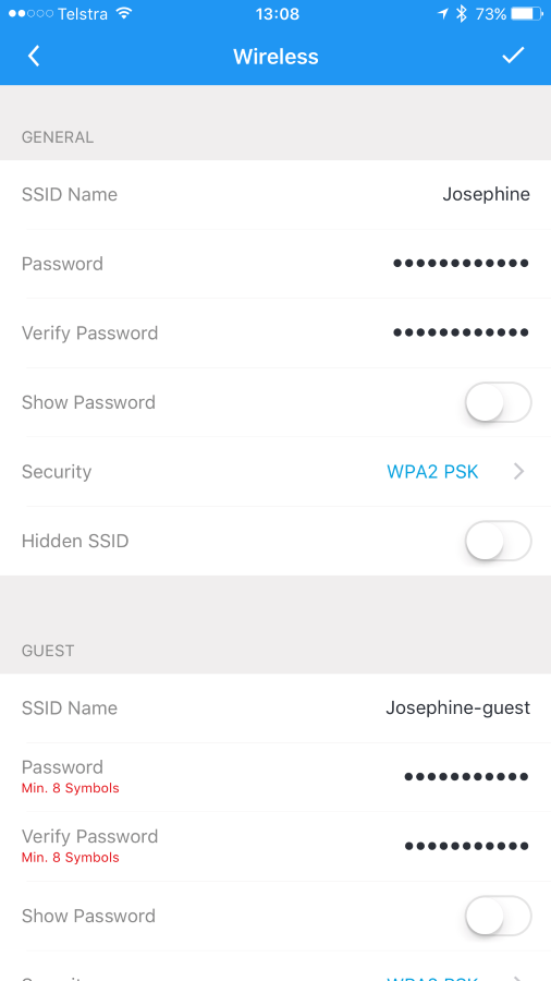 Setting a password on the guest network