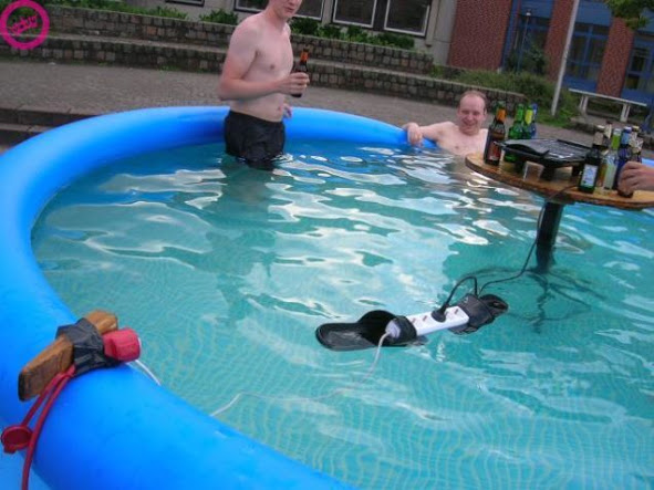 Powerboard Floating in Pool