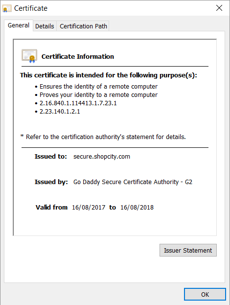 Wrong Cert for Sites