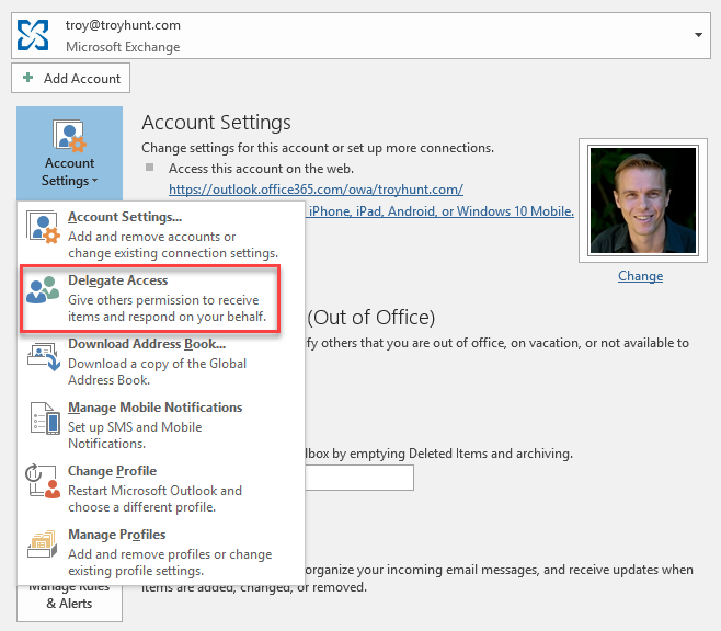 Delegate access in Outlook