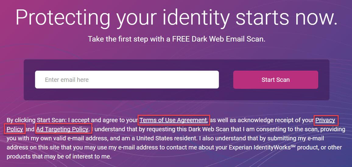Experian Dark Web Search