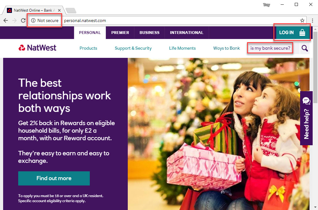Insecure NatWest Landing Page