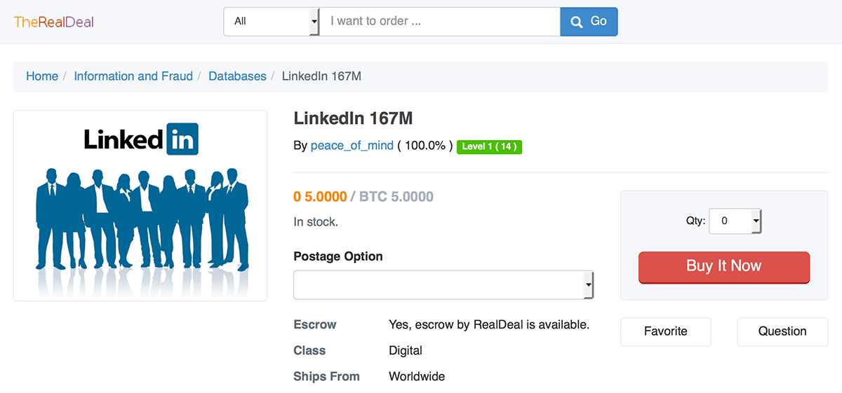 LinkedIn for sale on the Real Deal marketplace