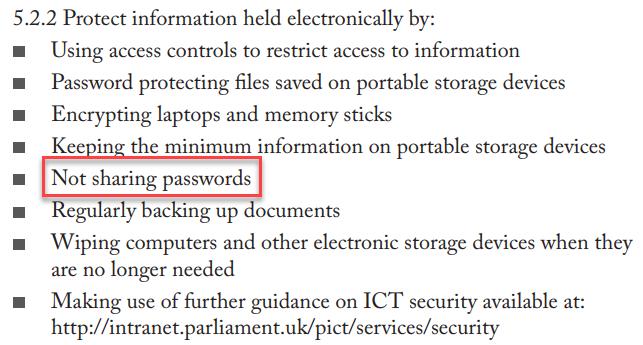 Not sharing passwords