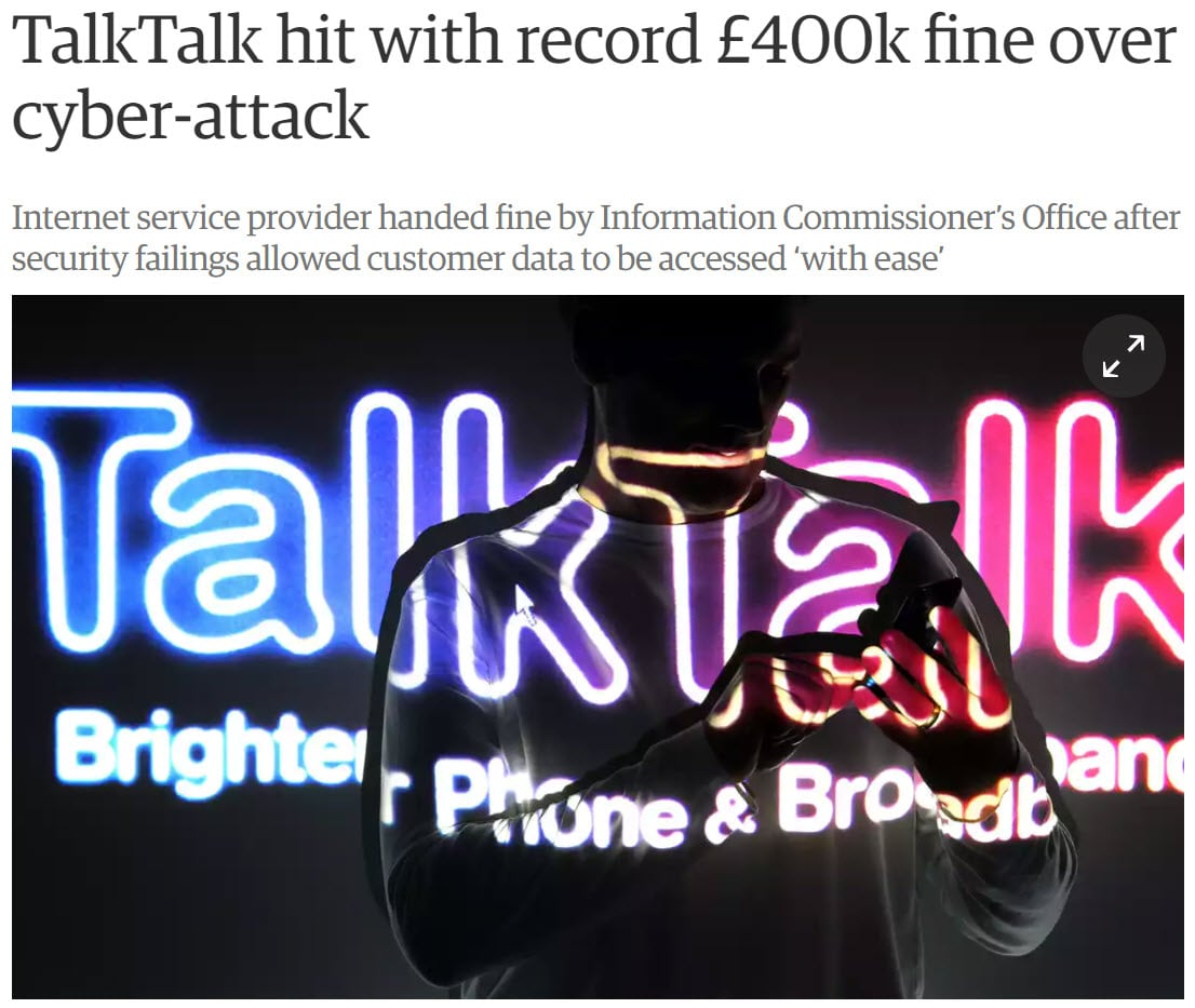 TalkTalk fine fixing data breaches part 5: penalties - TalkTalk Fine - Fixing Data Breaches Part 5: Penalties