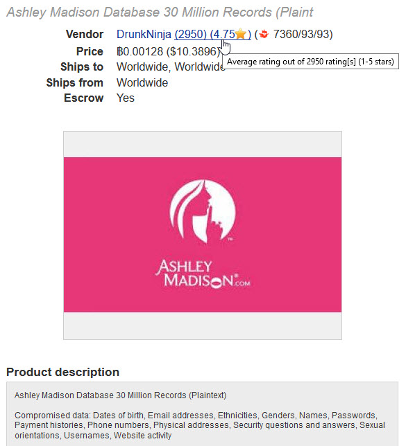 Ashley Madison Data for Sale