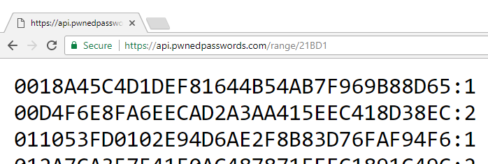"Range Search Results  - Range Search Results - I've Just Launched ""Pwned Passwords"" V2 With Half a Billion Passwords for Download"