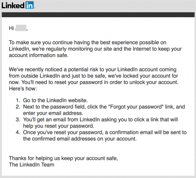 LinkedIn notice of reused data  - LinkedIn - The Legitimisation of Have I Been Pwned