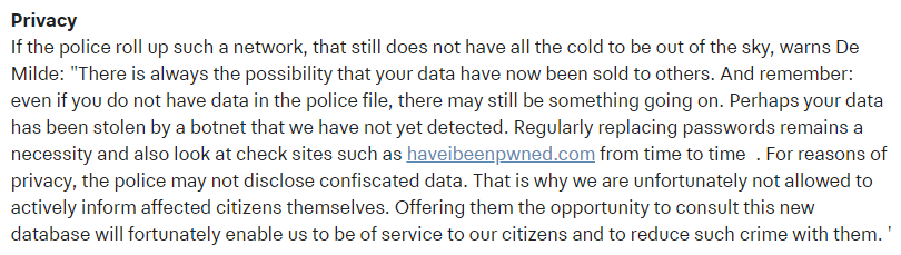 Netherlands police recommending HIBP