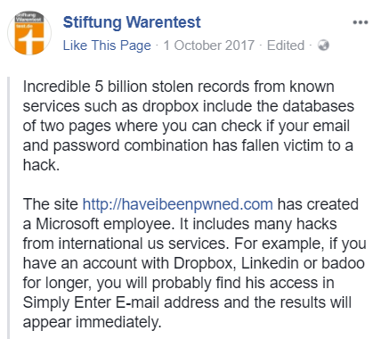Stiftung Warentest  - Stiftung Warentest - The Legitimisation of Have I Been Pwned