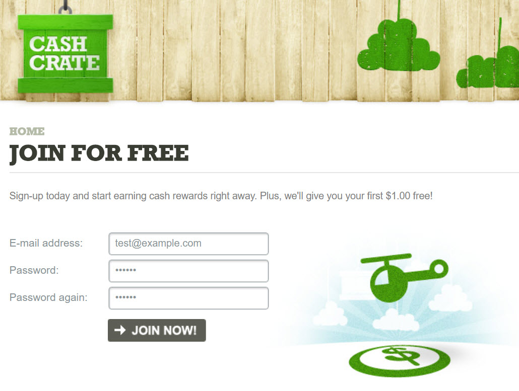 CashCrate signup
