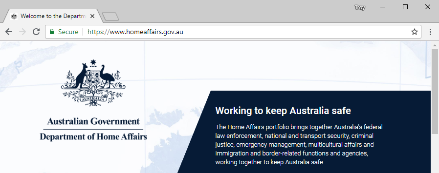 Australian Home Affairs Website Loaded Over HTTPS
