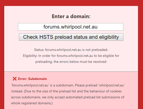 Can't preload Whirlpool subdomain