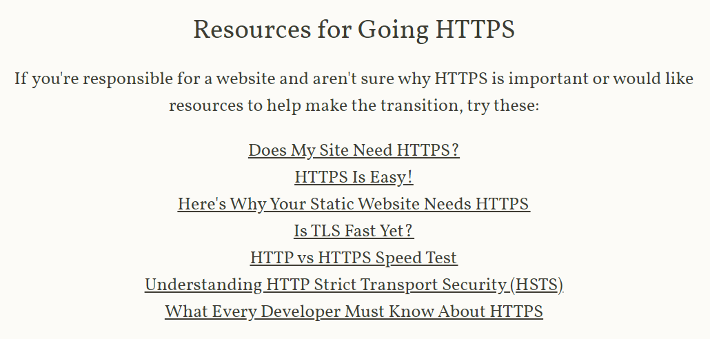 Resources for Going HTTPS