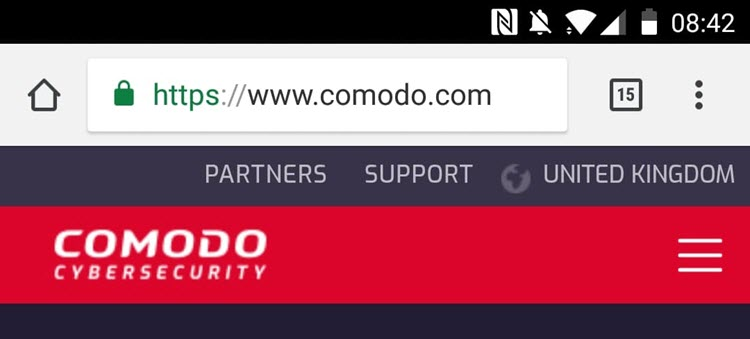 Comodo in Safari on Android