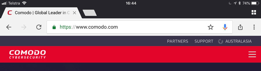 Comodo in Safari on iOS