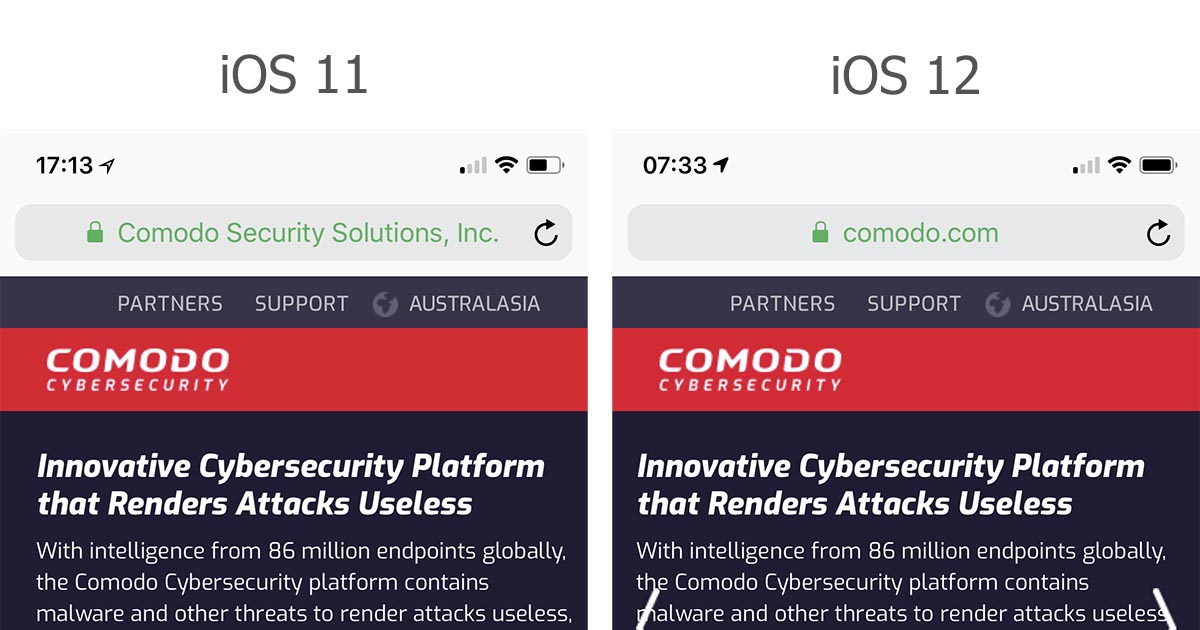 Comodo With No EV Display in iOS12