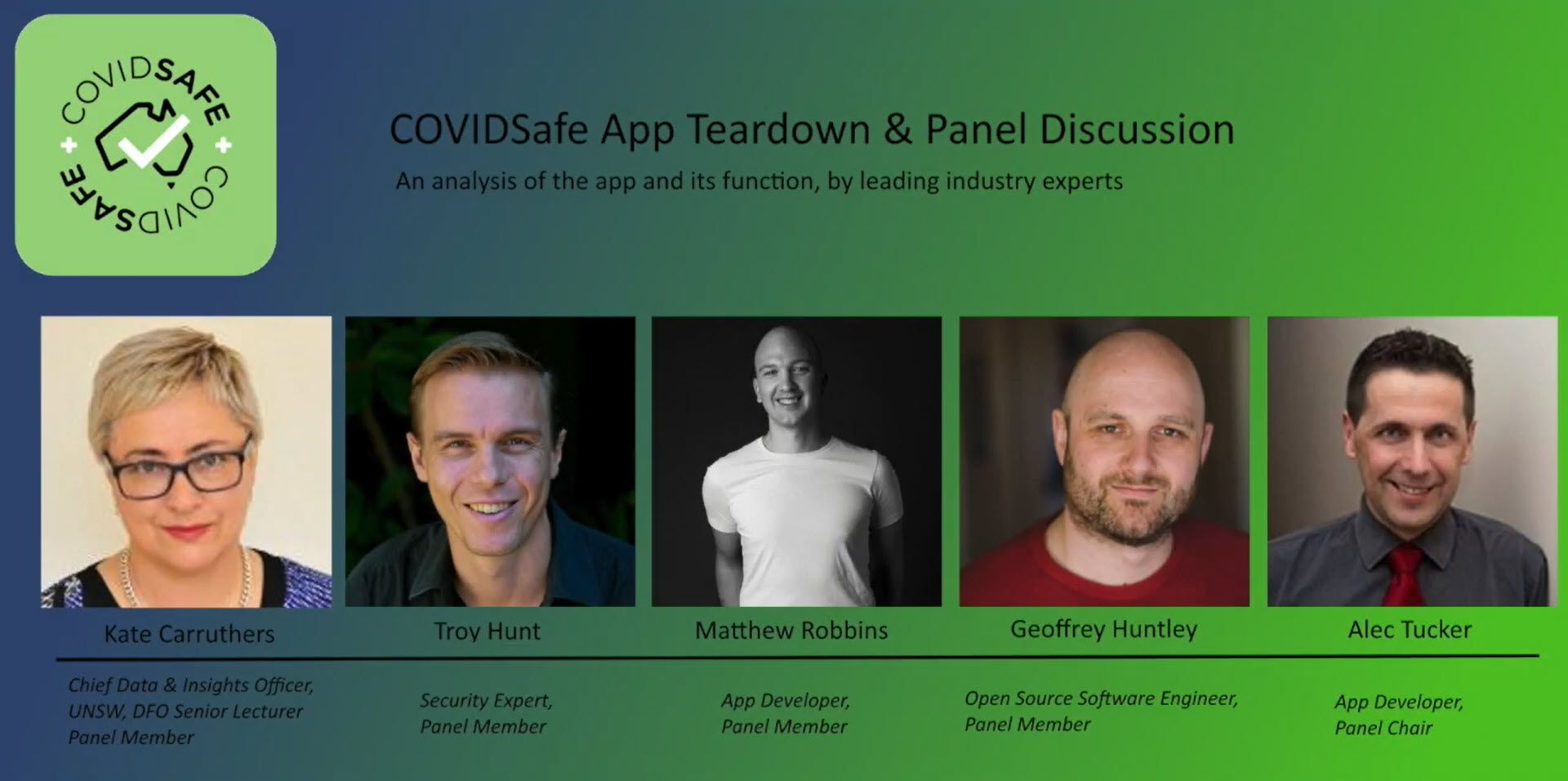 COVIDSafe App Teardown & Panel Discussion